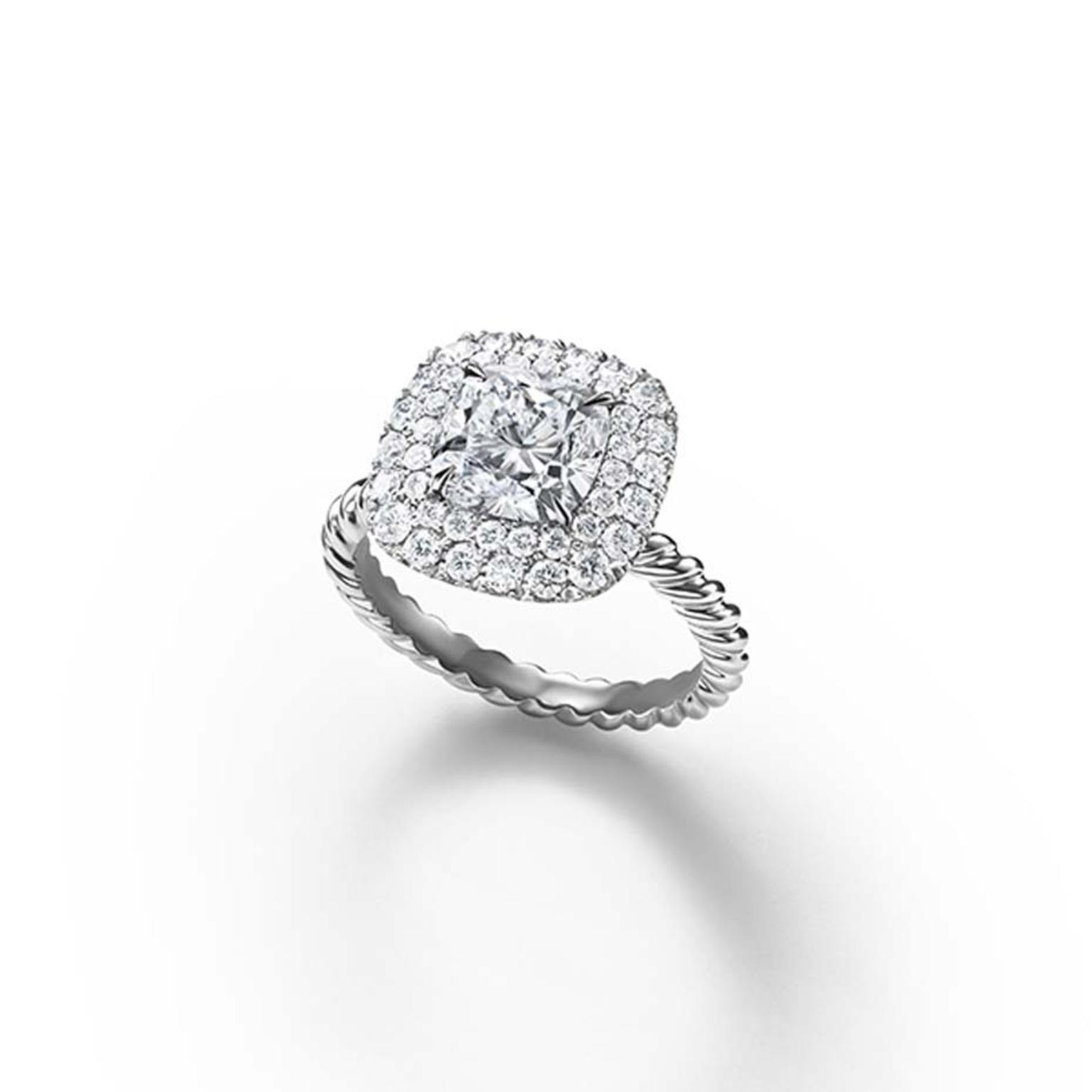 David Yurman vintage-style diamond engagement ring with a cable motif band.