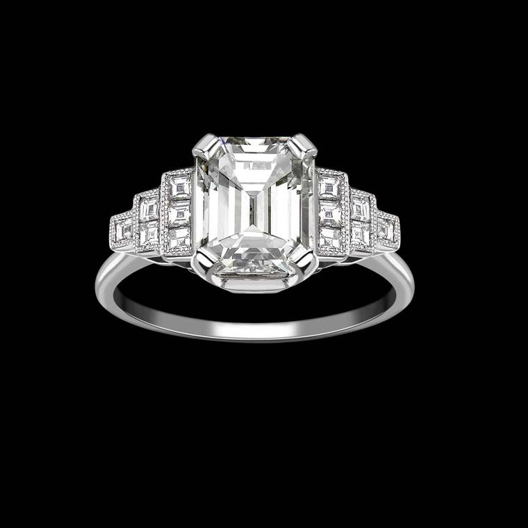 Hattie Rickards emerald-cut diamond vintage-style engagement ring.