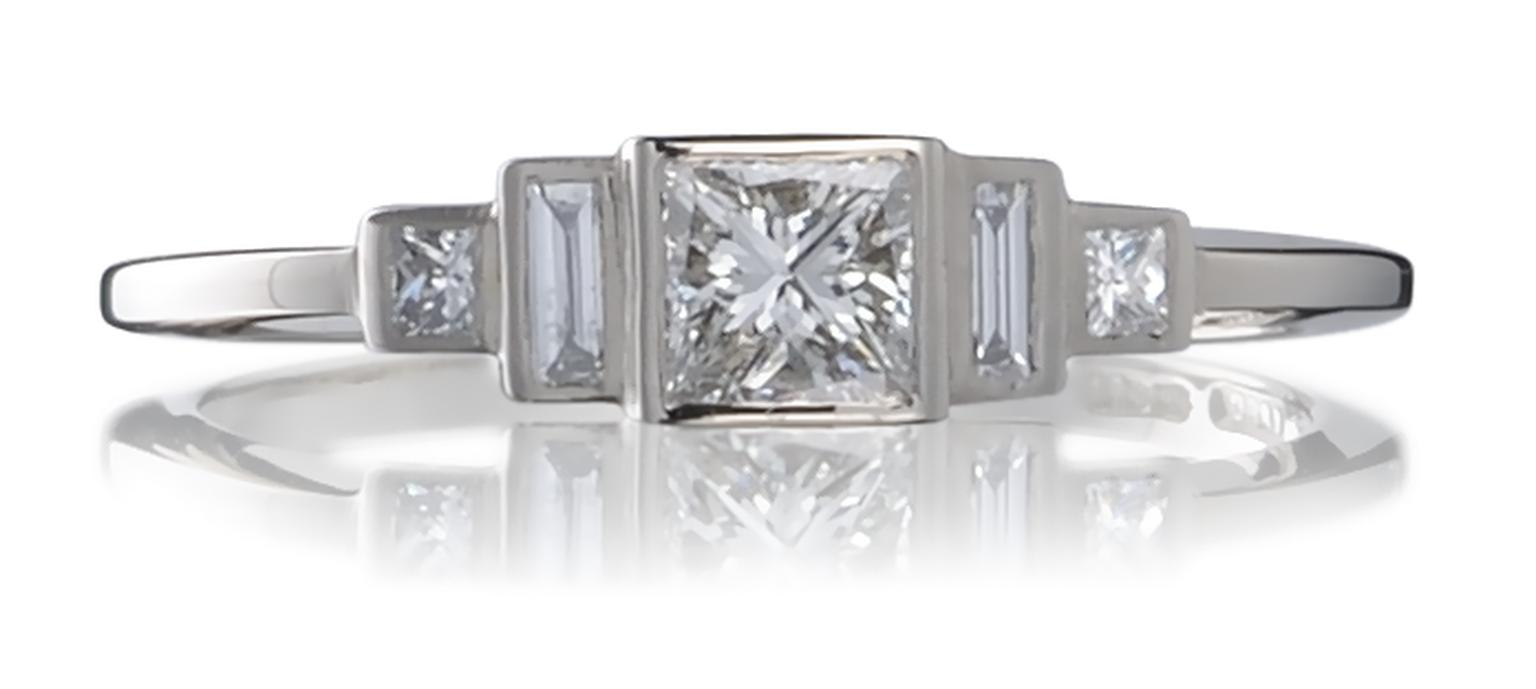 Cred Art Deco Trilogy vintage-style engagement ring.