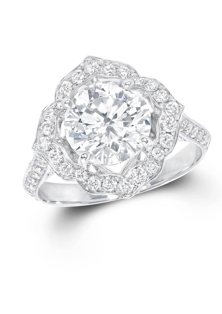Graff vintage-style diamond engagement ring with a Star Flower setting.