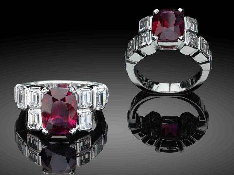Star Diamond Ruby Star Art Deco engagement ring with a 4.52ct centre ruby.