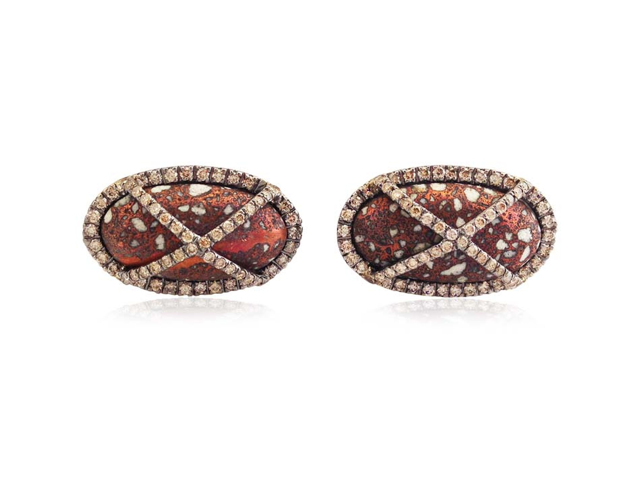 Colette cufflinks with diamonds over deep red-brown jasper.