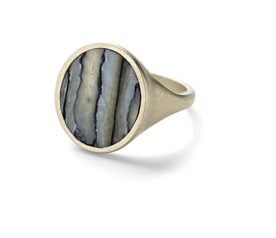 Monique Péan men's signet ring set with blue fossilized woolly mammoth in recycled white gold.