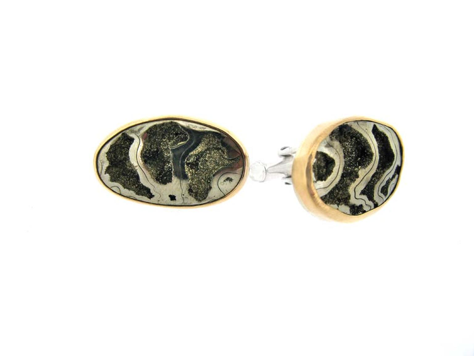 Melissa Joy Manning cufflinks with ammonite and natural stripes of pyrite.