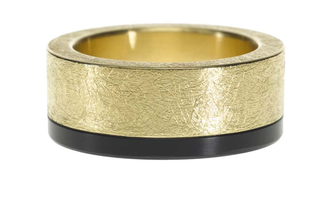 Todd Reed textured gold band with a strip of black jade.