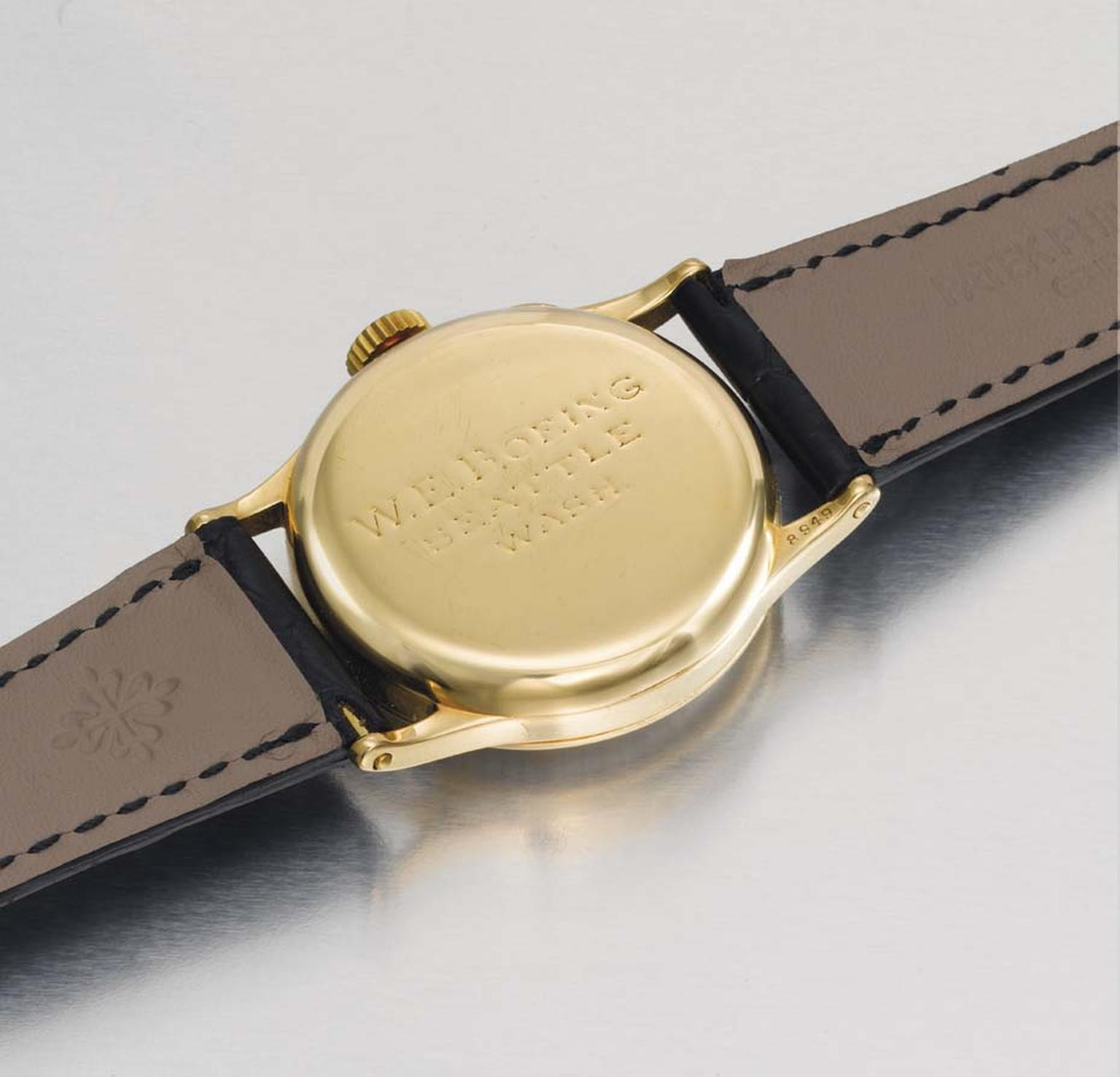 The initials of Mr William E. Boeing of Seattle, Washington, are inscribed on the back of the rare Patek Philippe Reference 130 wristwatch, which sold for $494,000 at Christie's Patek Philippe 175th Anniversary sale on 9 November 2014.