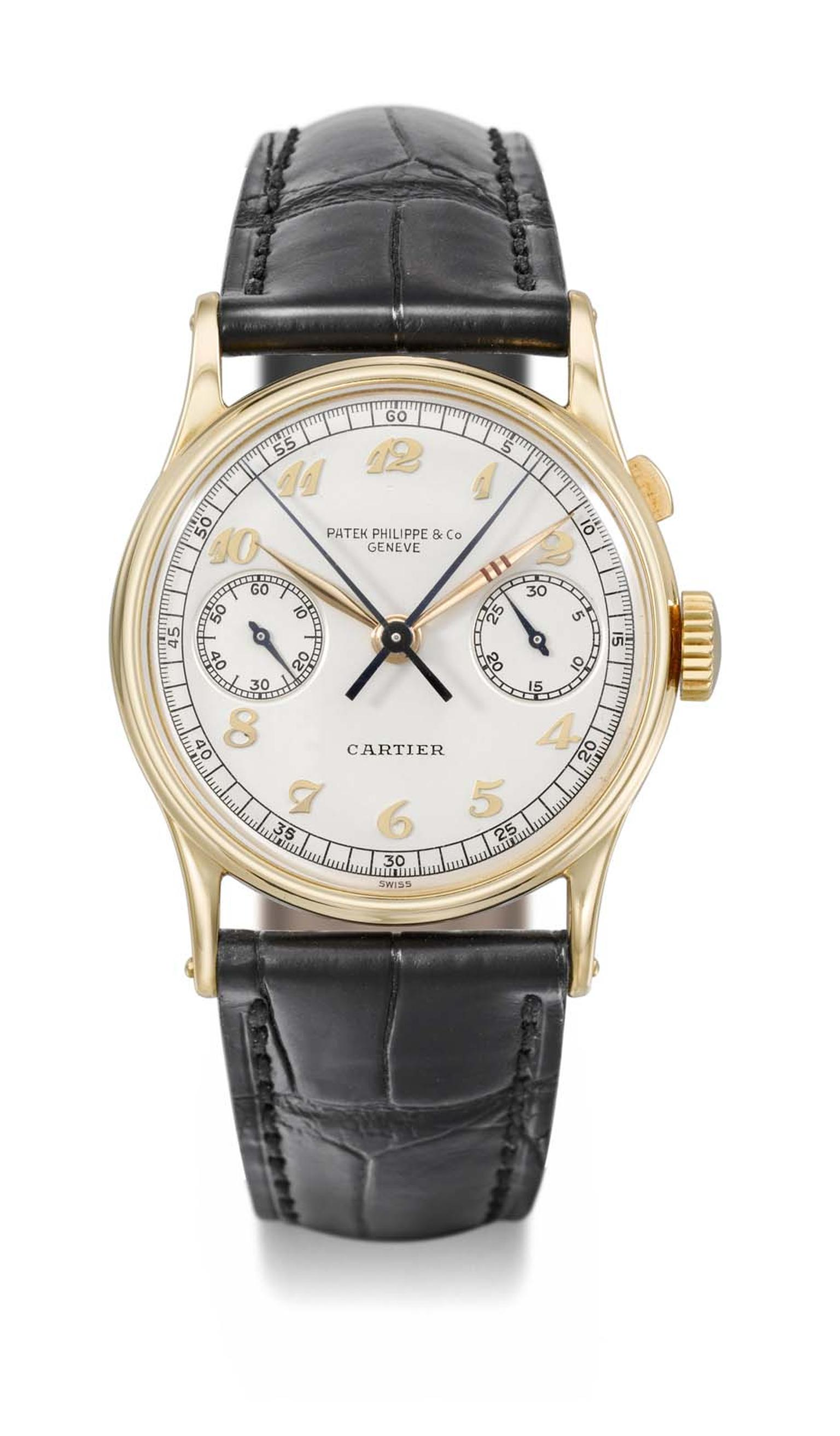 "Known as ""The Boeing"", the Patek Philippe watch Reference 130 is a rare gold wristwatch with a single button split-seconds chronograph, sold by Cartier in 1939 to commercial aviation pioneer Mr. William E. Boeing of Seattle, Washington. Never before offer"