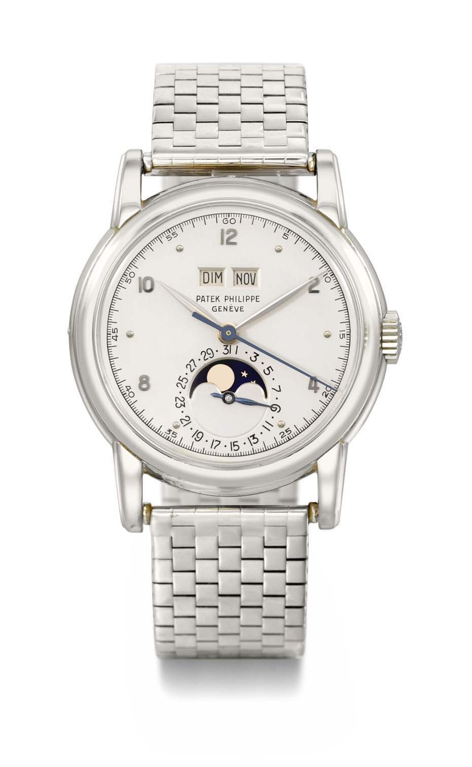 This Patek Philippe watch Reference 2497 is the third existing model of this reference ever to have been crafted in white gold. The perpetual calendar with Moon phase wristwatch had never appeared in public before the auction at Christie's Geneva, where i