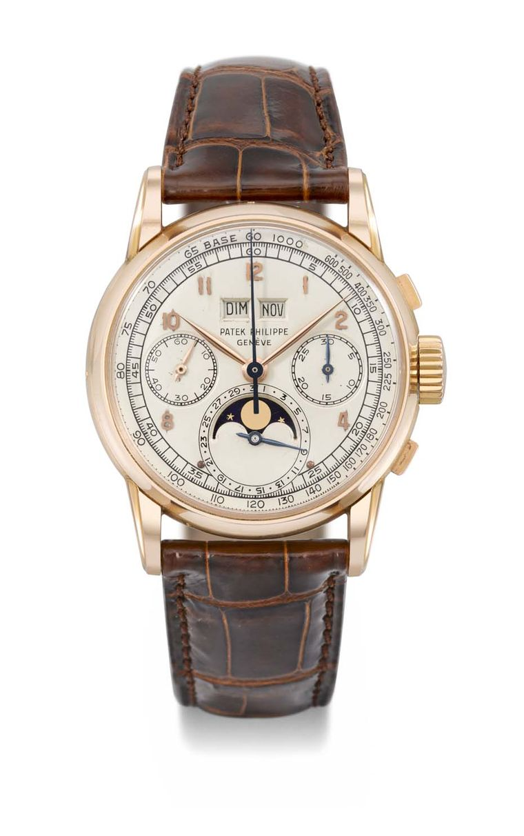 The top lot at Christie's Patek Philippe 175th Anniversary sale was a Patek Philippe watch Reference 2499 First Series that fetched over $2.6 million, one of only four examples in pink gold of the perpetual calendar chronograph watch with Moon phases and