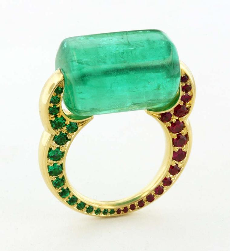 James de Givenchy Taffin Passage to India ring centers on a bold emerald bead, which is set in an Eastern-inspired gold shank of emeralds and rubies.