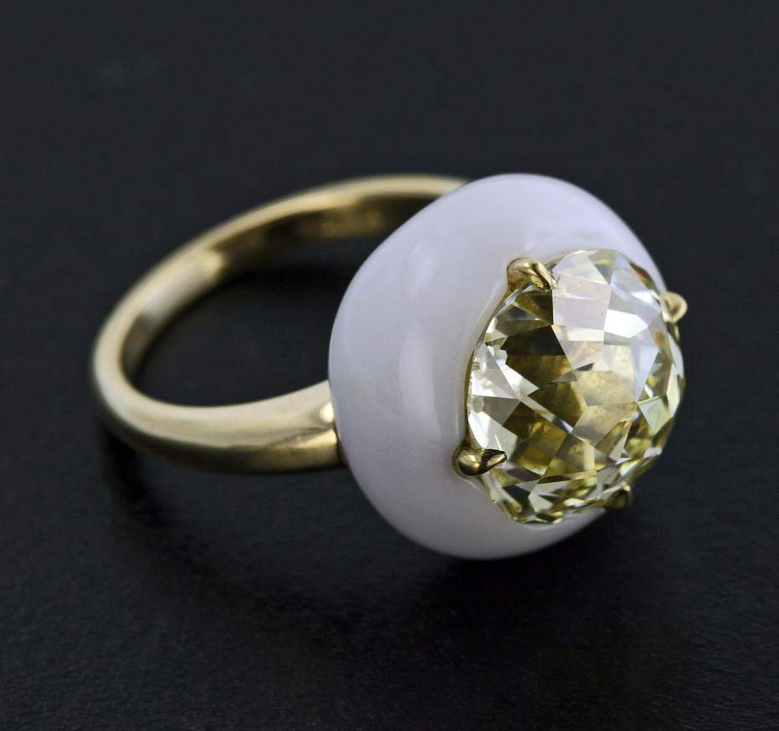 James de Givenchy Taffin Jubilee Cut diamond, cacholong and yellow gold ring.