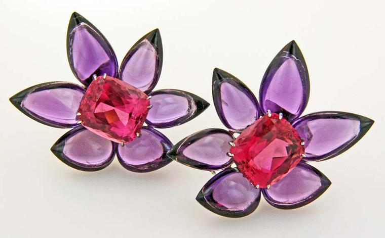 James de Givenchy Taffin amethyst, rhodochrosite and platinum Flower earrings.