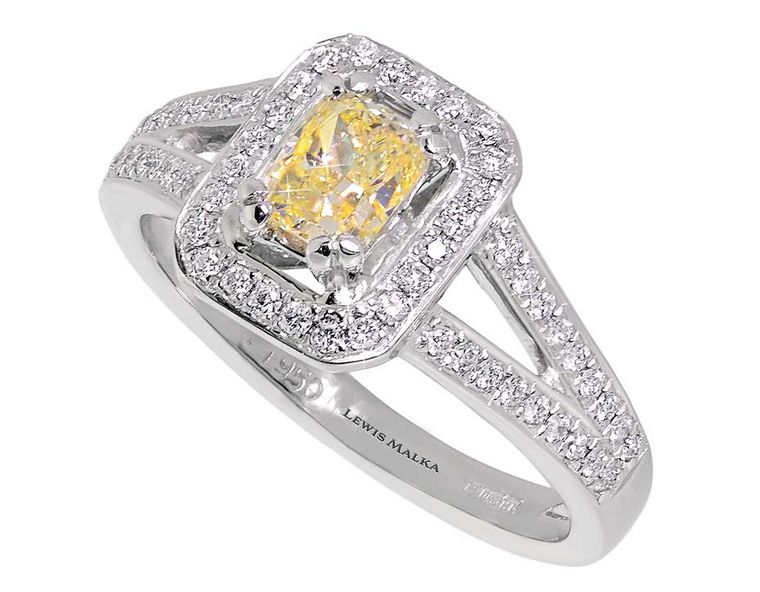 Lewis Malka London halo style yellow diamond engagement ring (0.5ct starting from £4,950).