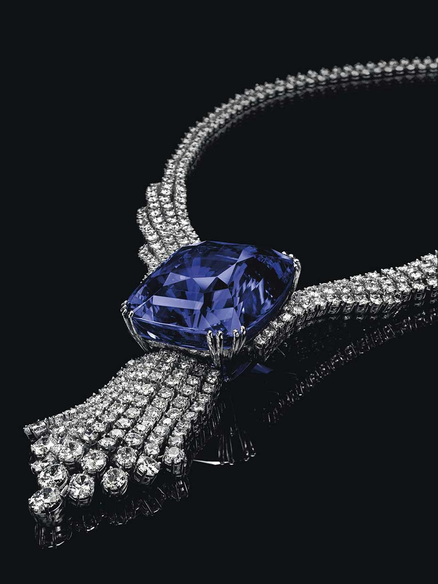 At Christie's Magnificent Jewels Sale in Geneva on 11 November 2014, the 392.52ct Blue Belle of Asia sapphire necklace sold for $17.2 million, setting a new world record for any sapphire sold at auction.