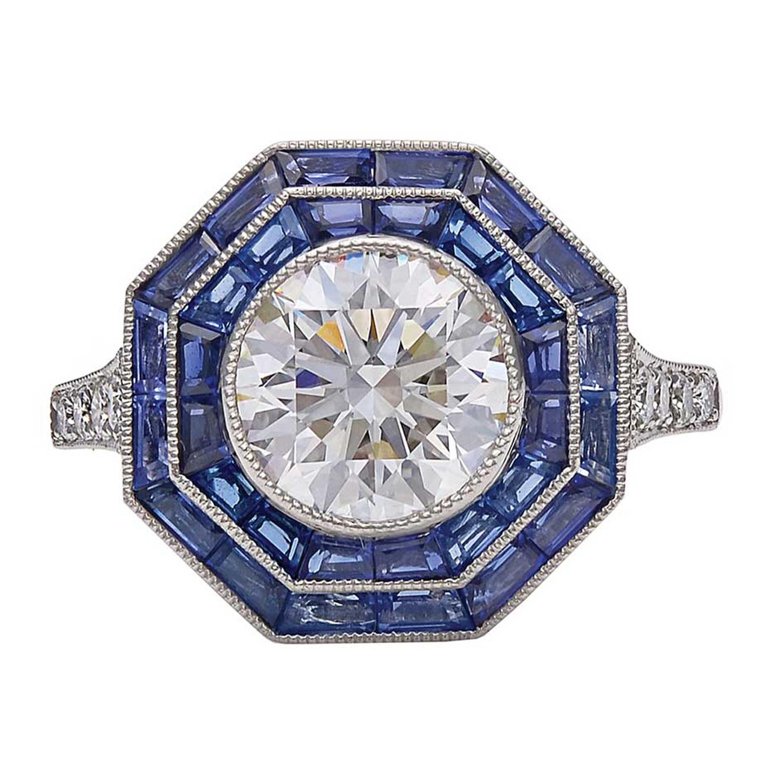 Vintage engagement ring by Tiffany & Co. with sapphires and diamonds in platinum, available on 1stdibs.com (£25,620).