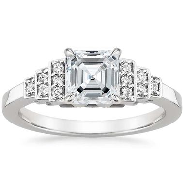 Brilliant Earth Aster diamond engagement ring in white gold featuring an Asscher-cut diamond with diamond accents.