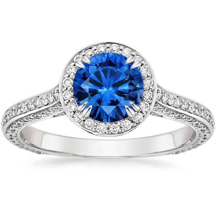 Brilliant Earth halo-style sapphire engagement ring in white gold with diamonds (£2,800).