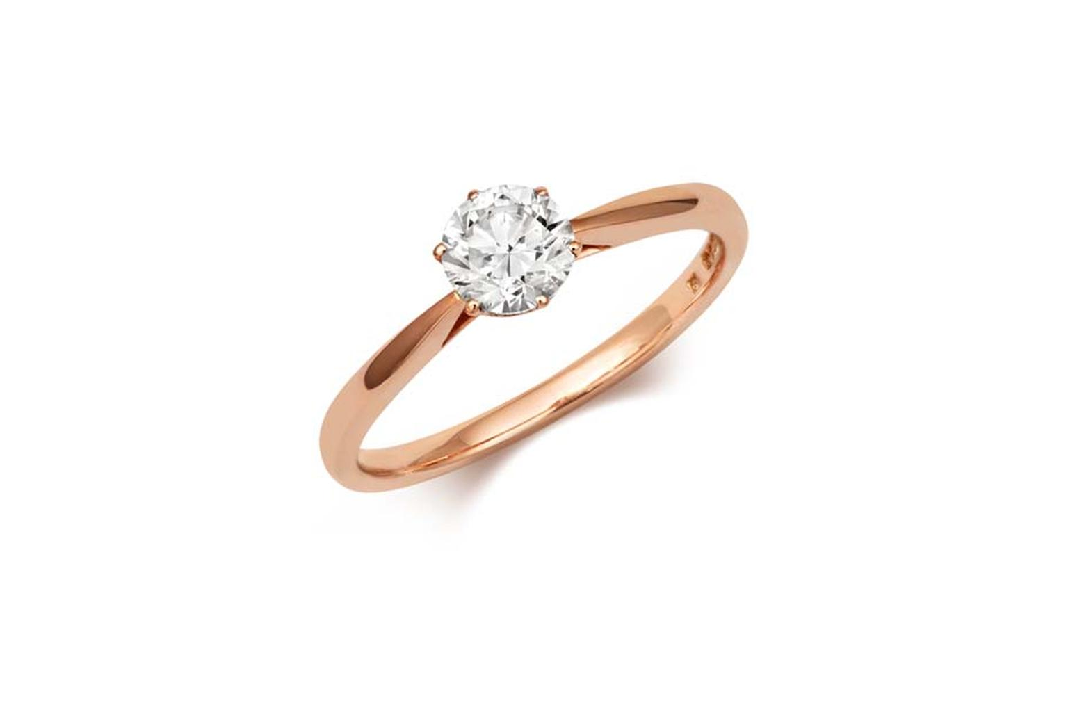 Cred Antique diamond engagement ring in rose gold (£2,240).