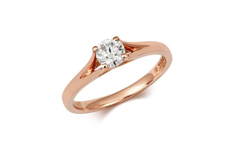 Cred Enfold diamond engagement ring in rose gold (£2,215).