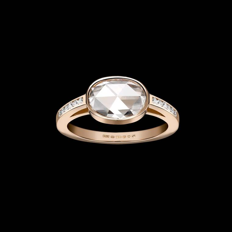 Hattie Rickards rose-cut diamond engagement ring, a bespoke creation in stamped Fairmined and Fairtrade gold.
