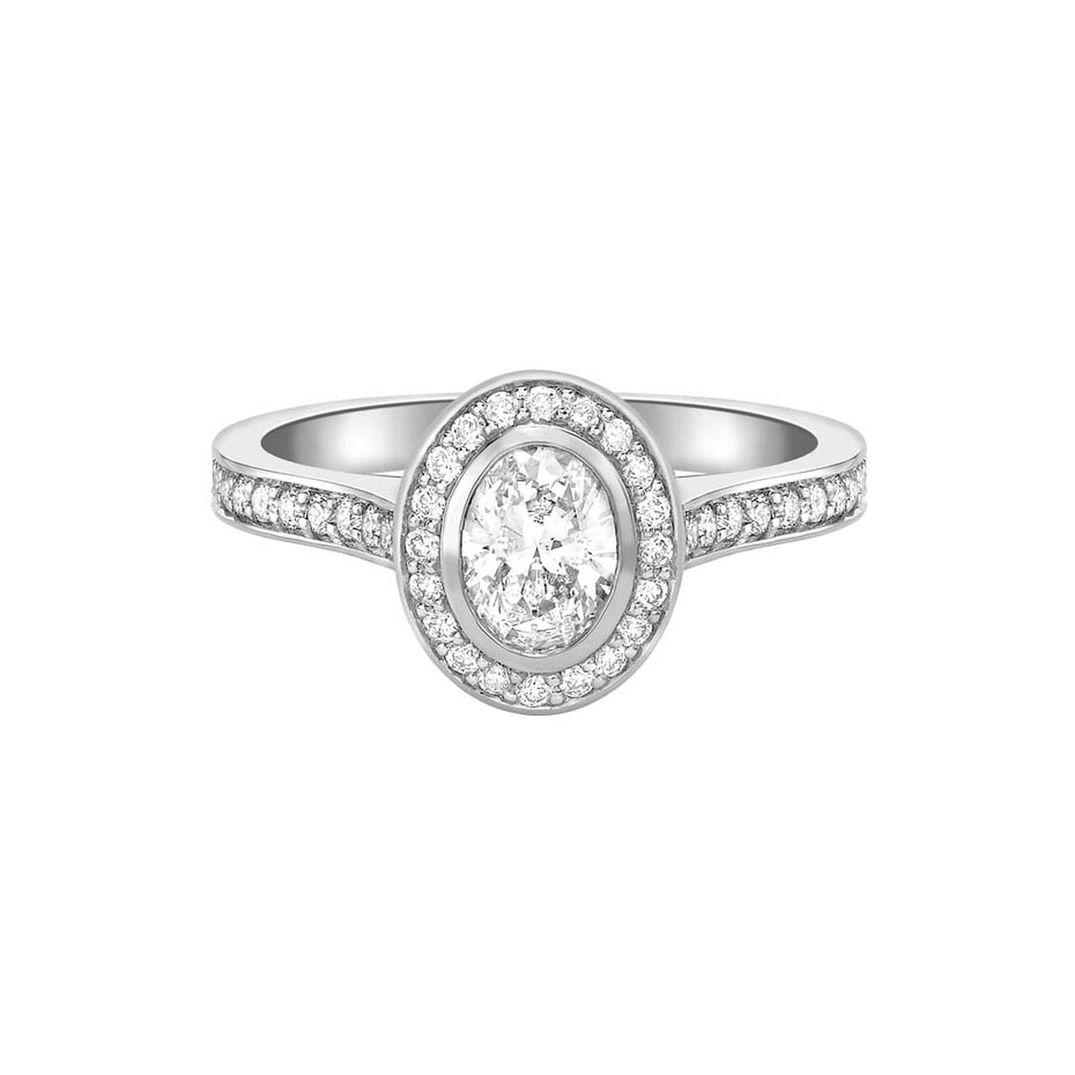 Ingle & Rhode Pavane diamond engagement ring set with a 0.5ct oval-cut diamond in platinum (£3,995).