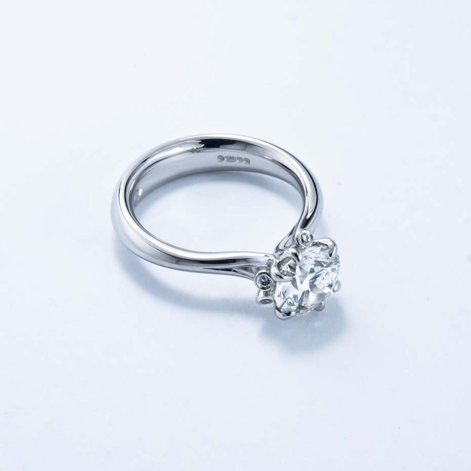 Jon Dibben Fairtrade Meadow diamond engagement ring in platinum, set with recycled and Australian diamonds (from £10,000).