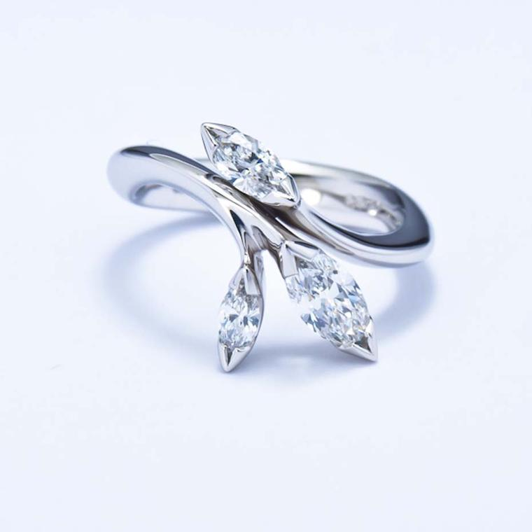 Jon Dibben Floral diamond engagement ring in recycled platinum, set with Namibian diamonds (from £7,000).