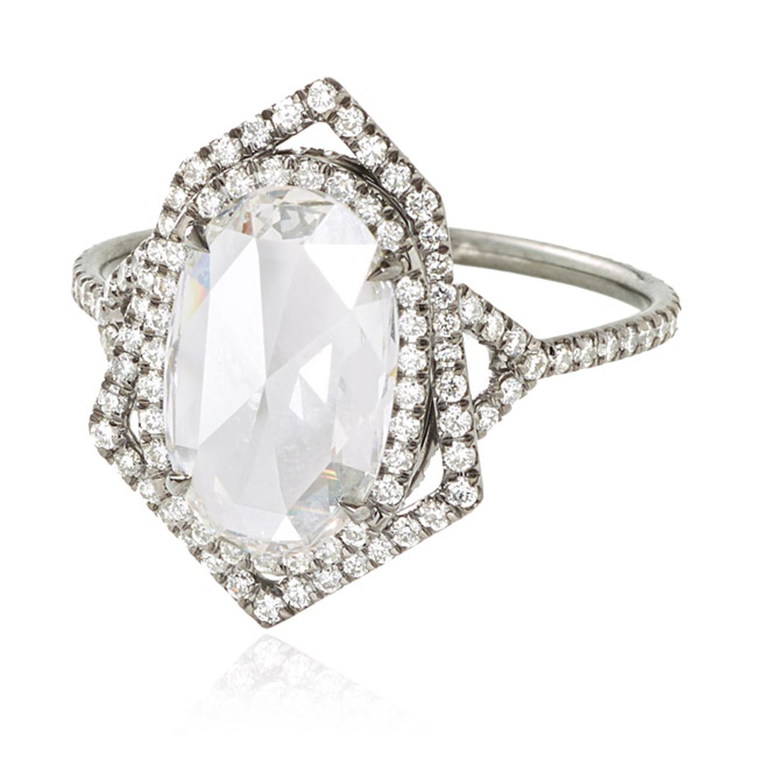 Monique Péan Mineraux collection diamond engagement ring in recycled oxidised platinum, set with an antique white oval rose-cut diamond and diamond pavé.