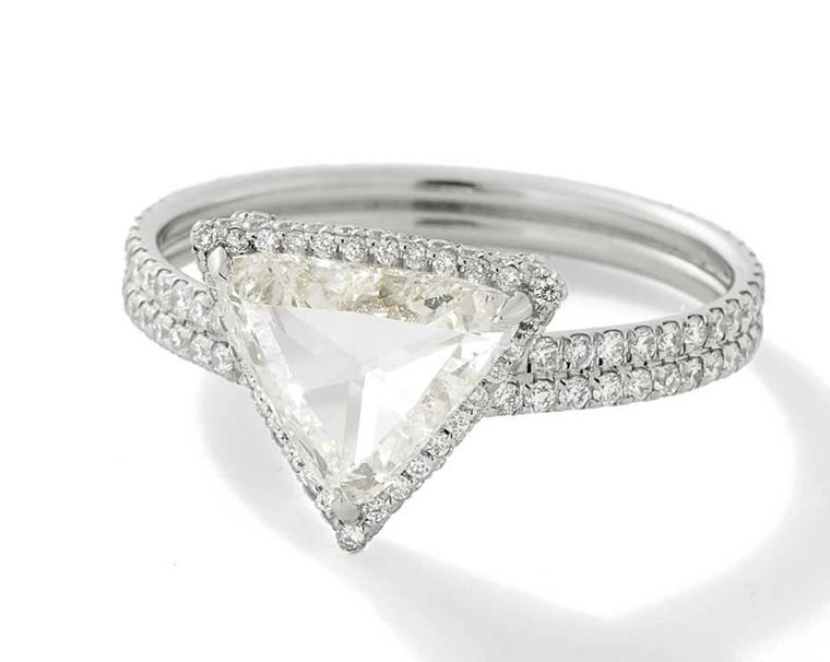 Monique Péan Mineraux collection rose-cut diamond engagement ring with white diamond pavé in recycled platinum.
