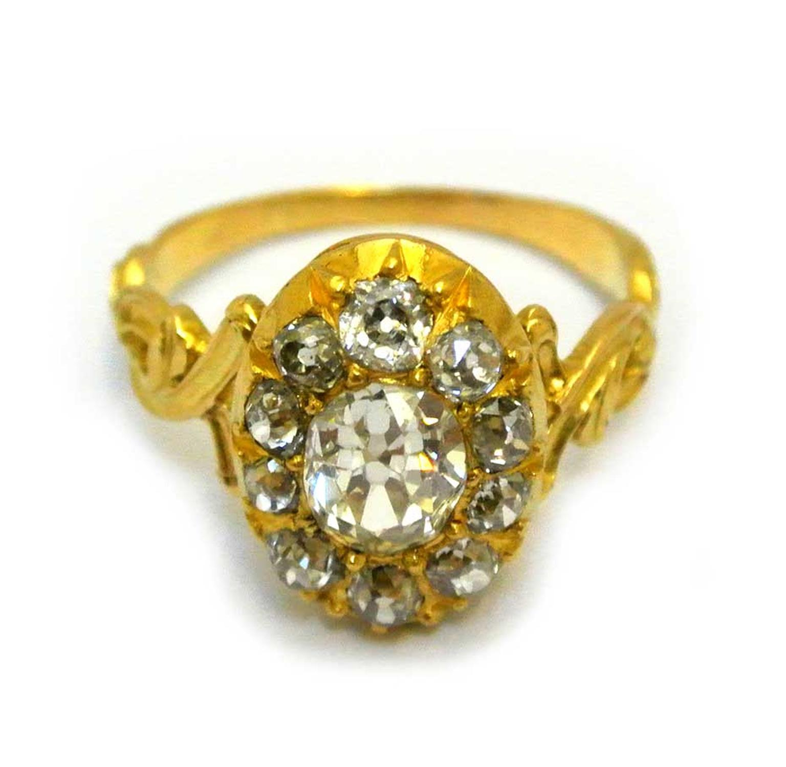 Diamond engagement ring in yellow gold, circa 1880. Available at Grays Antique Market, London.