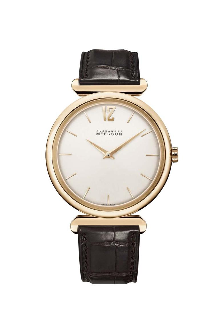 Alexandre Meerson Altitude Première men's watch featuring a beautifully curved 41mm rose gold case evocative of the Art Deco period.