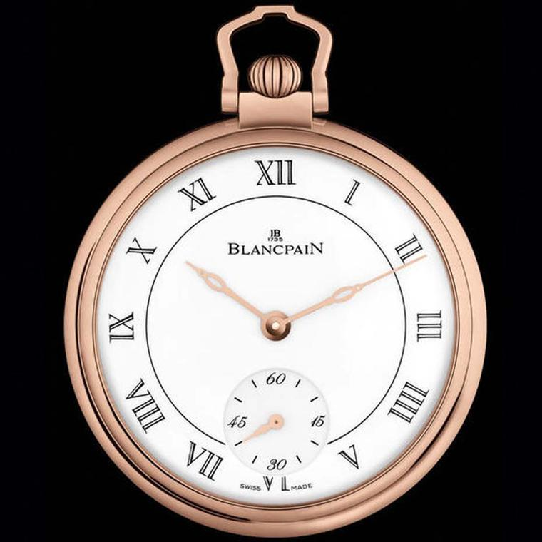 Blancpain Villeret pocket watch for men featuring a red gold 44.5mm case, a beautiful grand feu enamel dial and an ultra-slim movement.