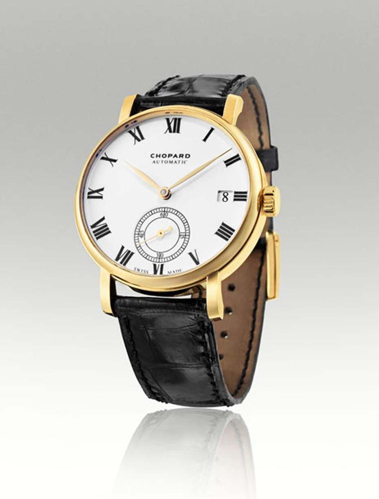 Chopard Classic Manufacture men's watch in yellow gold with a 38mm case and a small seconds subdial at 6 o'clock.