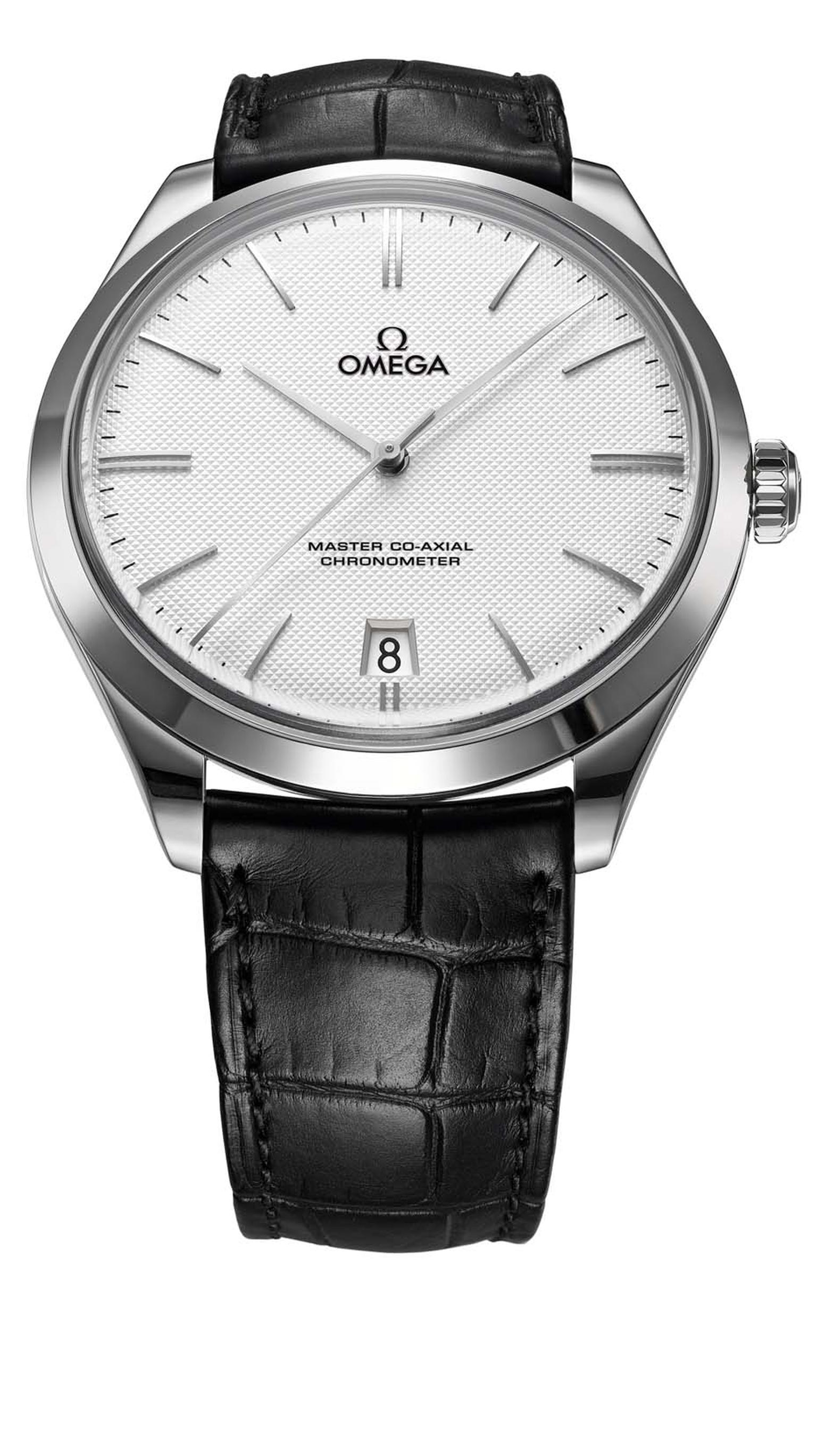 Omega De Ville Tre´sor men's dresswatch in white gold inspired by the original De Ville watches of 1949. This was the model worn by George Clooney on his wedding day.