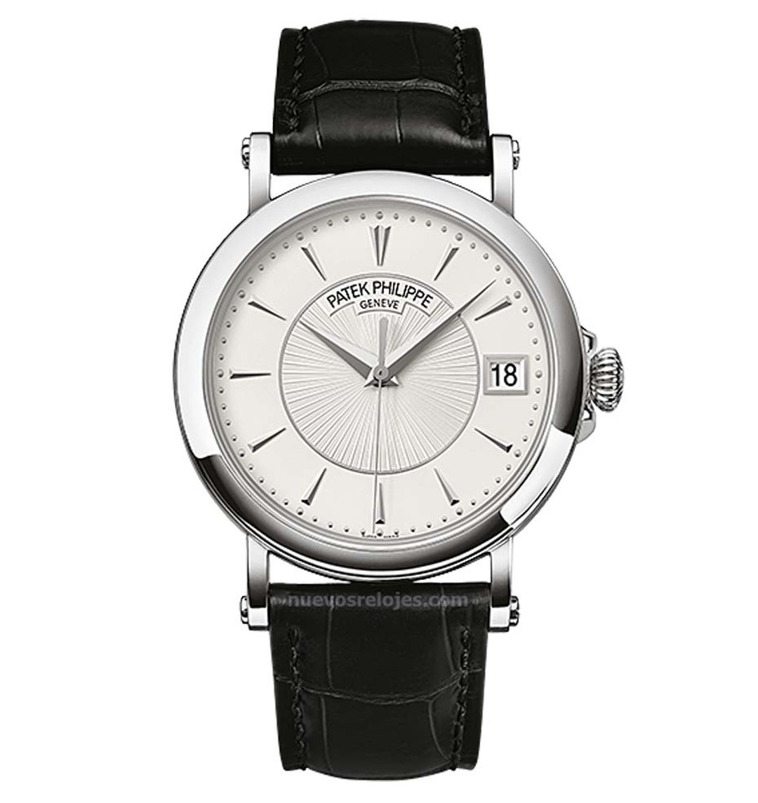 Patek Calatrava Ref. 5153G men's watch. The sobriety of the 38mm white gold case is enhanced with a hand-guilloché dial with a smart, white pleated pattern in the centre and a traditional onion crown.