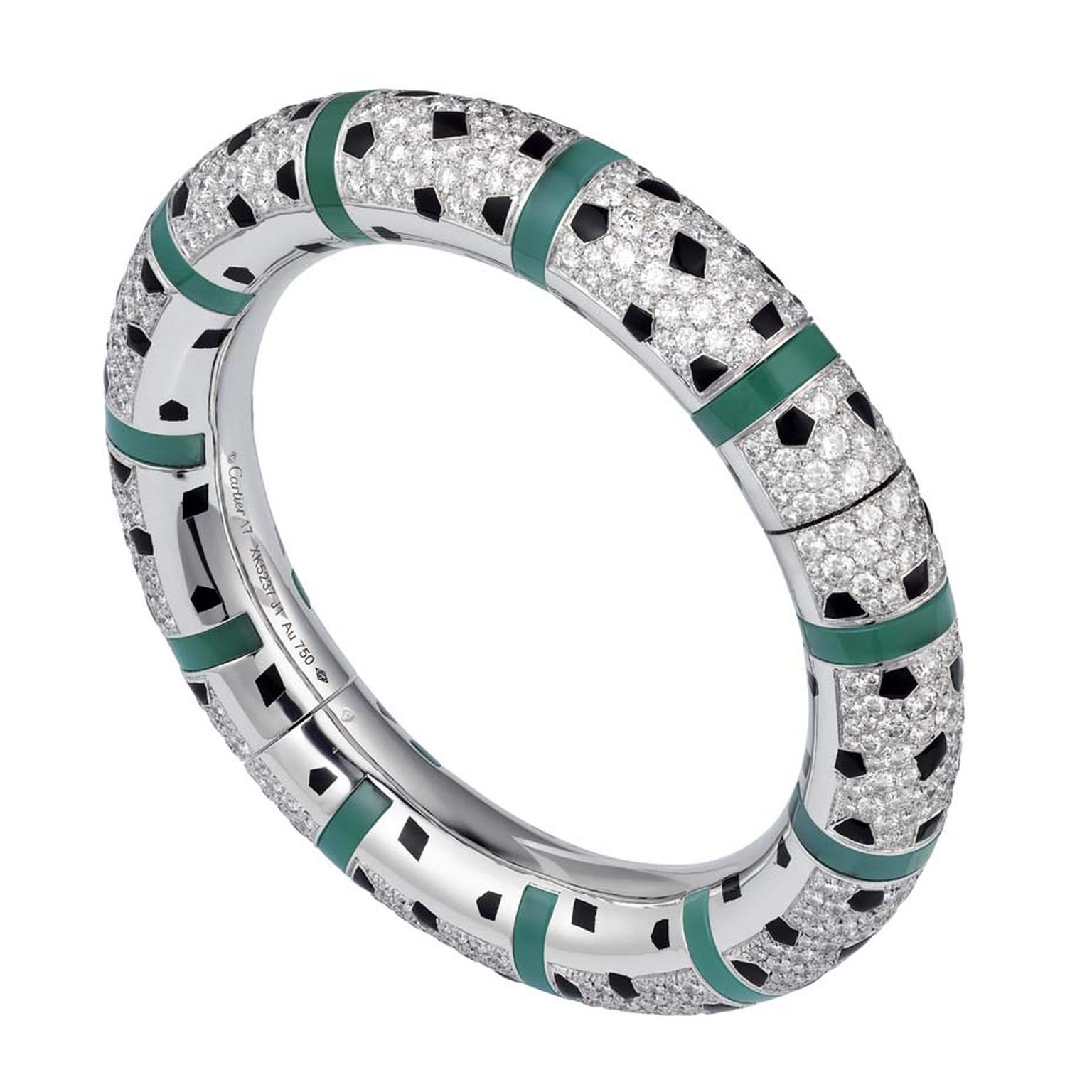 Panthère de Cartier bracelet in white gold featuring 661 brilliant-cut diamonds, black lacquer, onyx and chrysoprase.