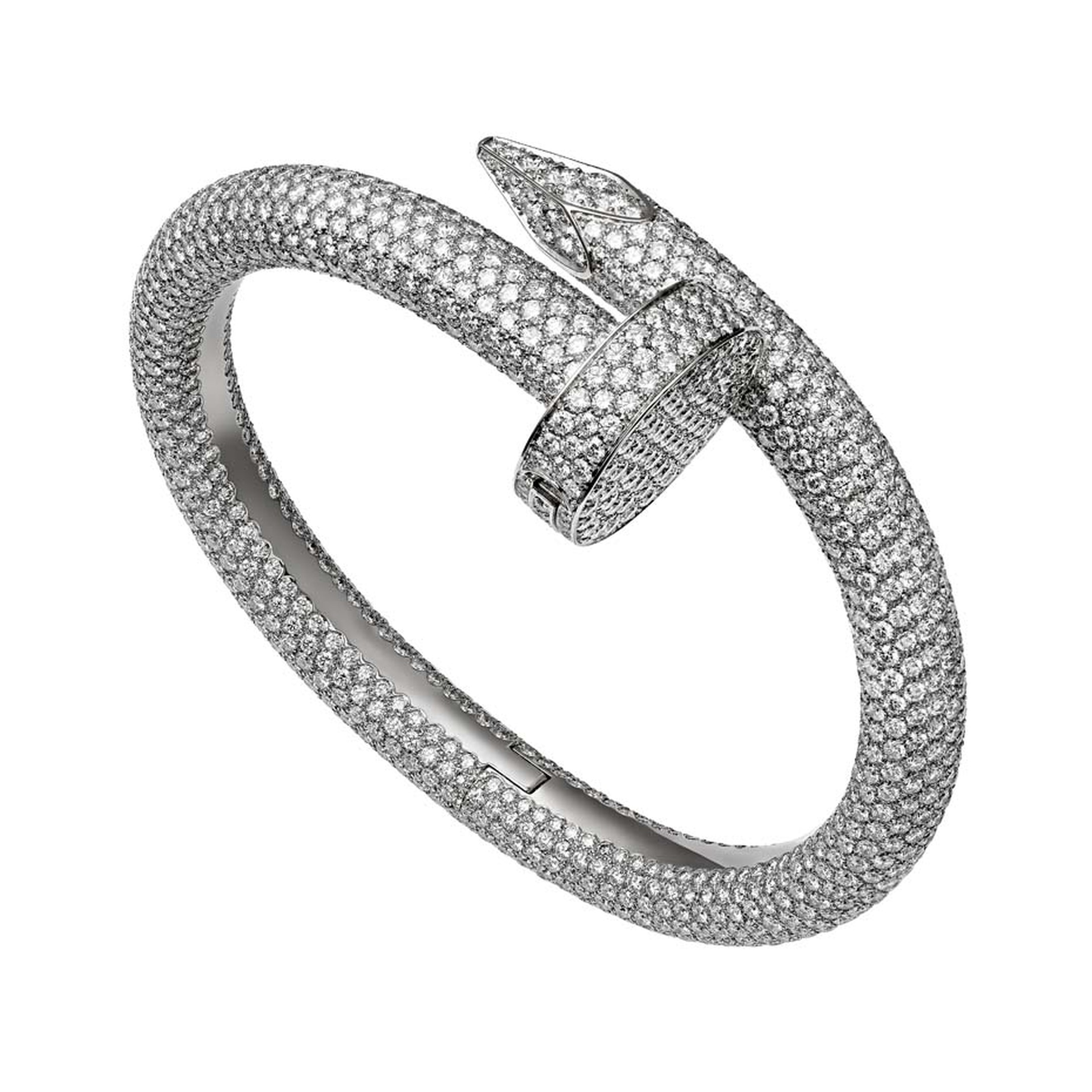 A fully diamond-pavéd interpretation of Cartier's Juste un Clou bracelet - a triumphant design from the 1970s - was launched recently.