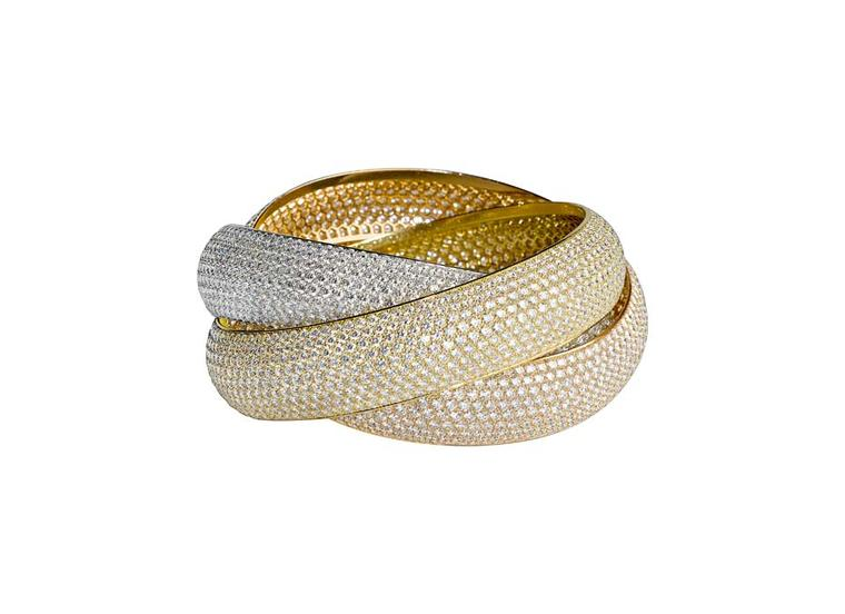 Cartier XXL Trinity bracelet in white, yellow and rose gold, set with 2,727 diamonds.
