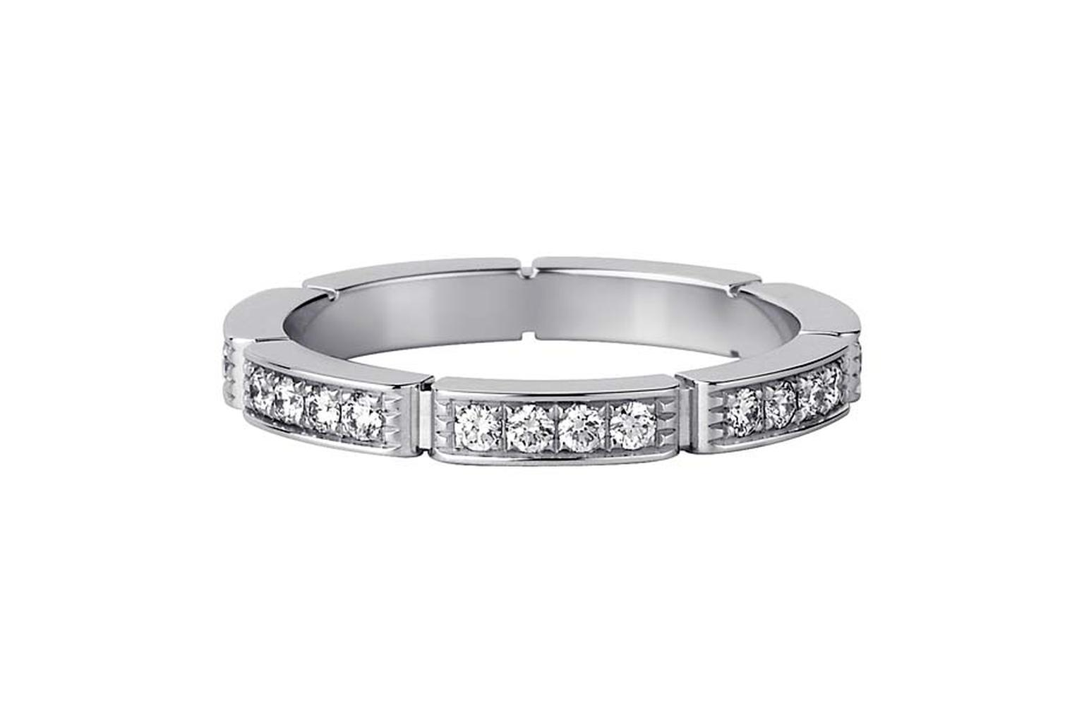 Cartier Maillon Panthe`re de Cartier platinum and diamond wedding ring.