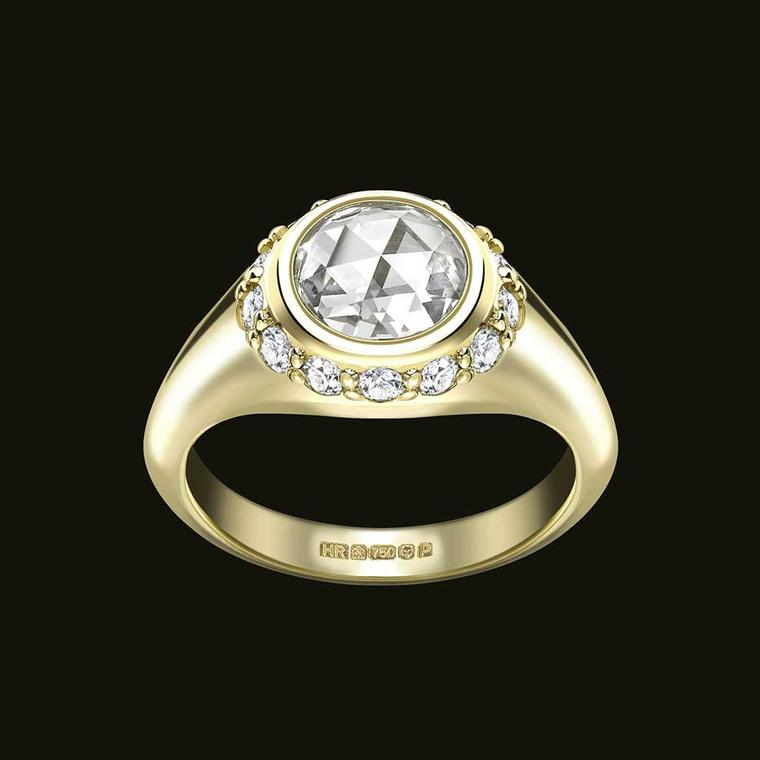 Bespoke Hattie Rickards rose-cut diamond engagement ring in Fairtrade gold (£POA).