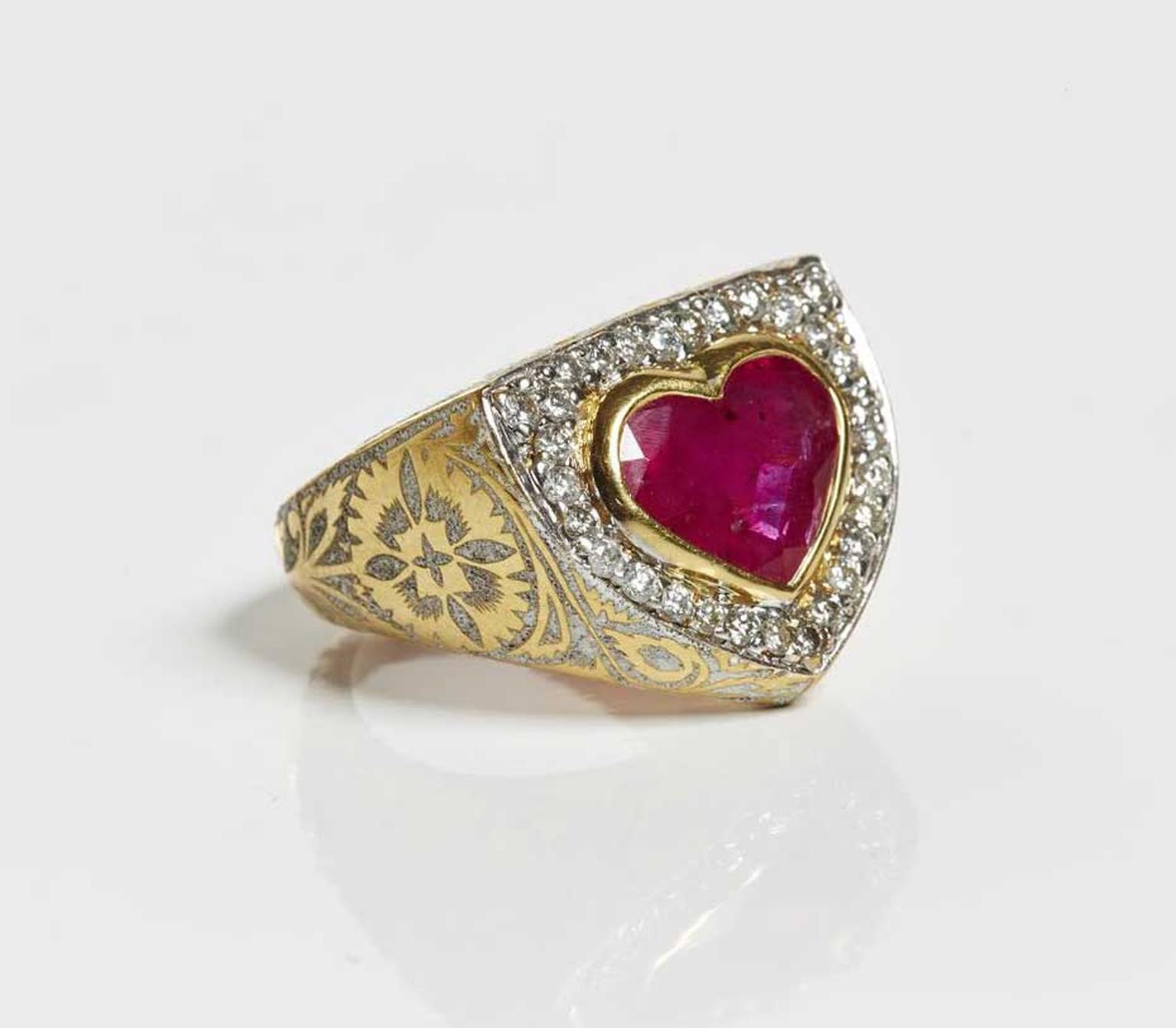 Jade Jagger ruby and diamond vintage-style engagement ring.