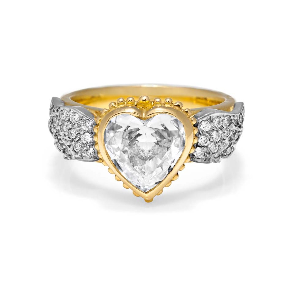 Sophie Harley 2.5ct heart-shaped diamond ring set in yellow gold with additional diamonds on the shank.
