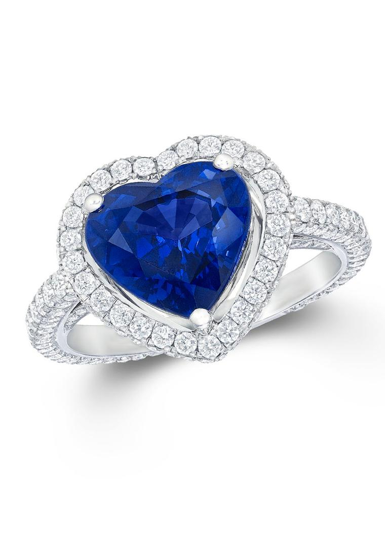 Graff Diamonds heart-shaped sapphire engagement ring featuring diamond-set shoulders.