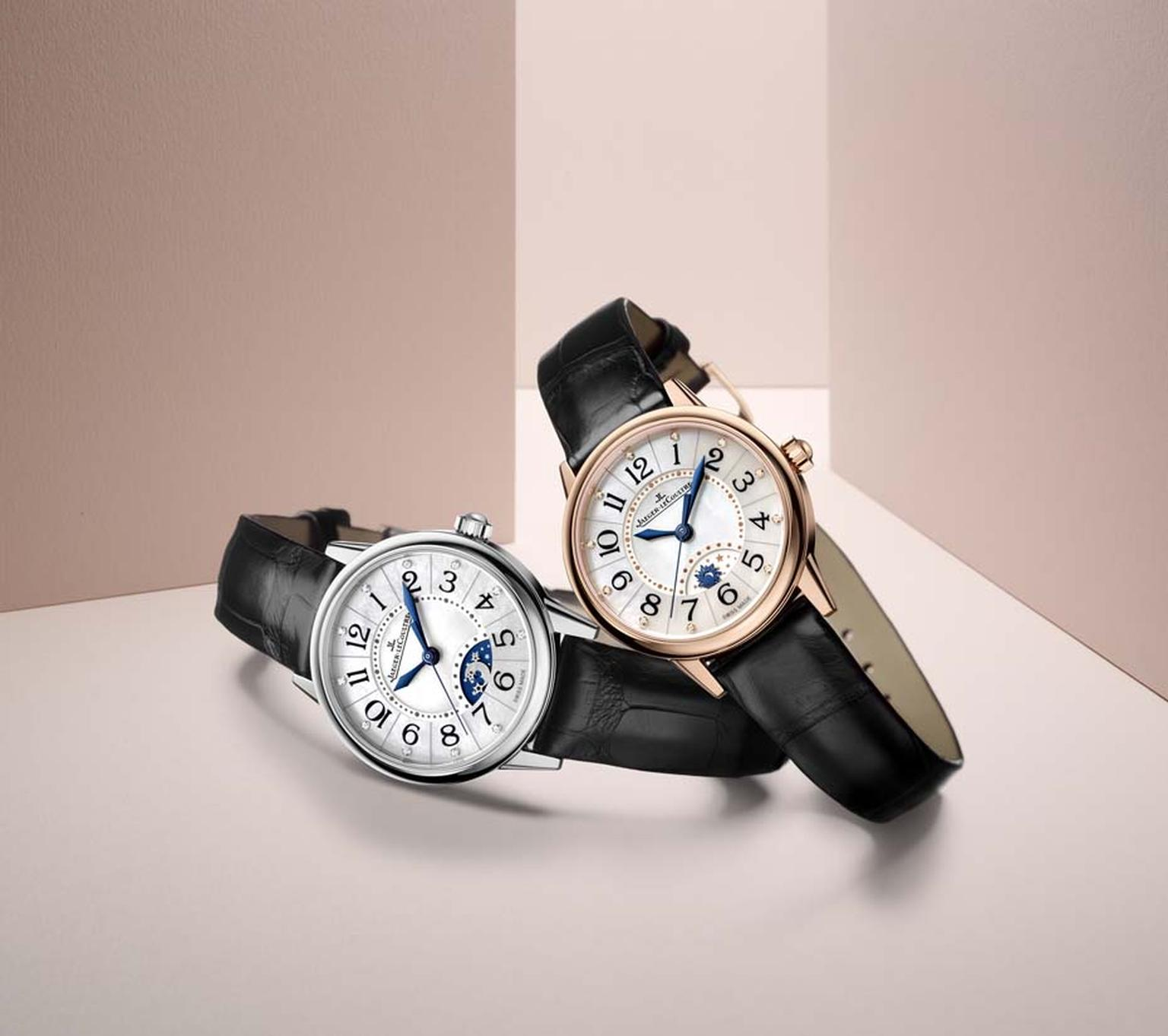 Jaeger-LeCoultre Rendez-Vous Night & Day watches are equipped with a day/night indicator in an arched window at 6 o'clock. The large black numerals, crowned with a diamond chaton, can be easily read against the glowing mother-of-pearl dial.