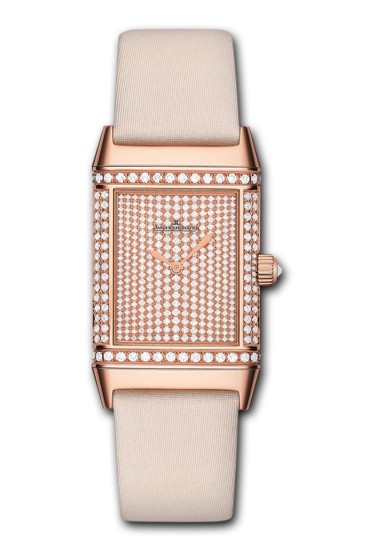 The Jaeger-LeCoultre Reverso Duetto Classique watch is a true chameleon, allowing her to change from a daytime-inspired dial to a more elegant black and diamond-studded dial for evenings by simply flipping the swivel case. Available in four different fini