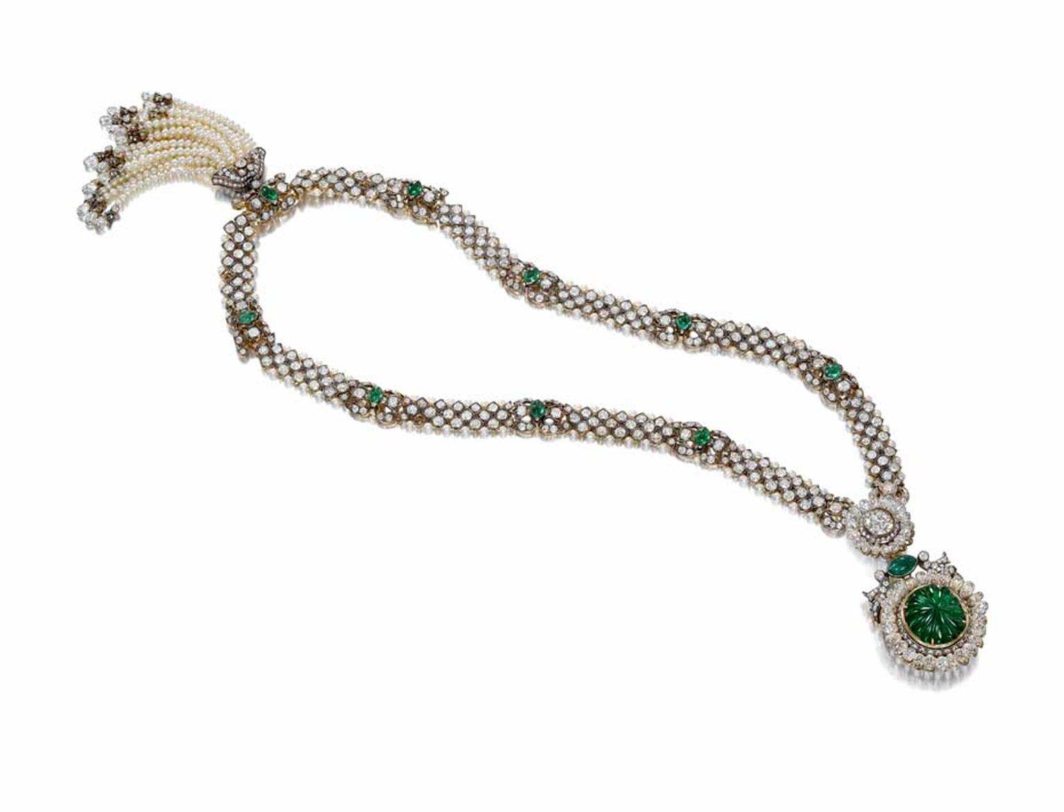 The attention to detail displayed on the necklace to be sold by Bonhams is nothing short of amazing. Every single surface of this opulent statement piece is bejewelled, including the back of the necklace, even though it is hidden when worn.