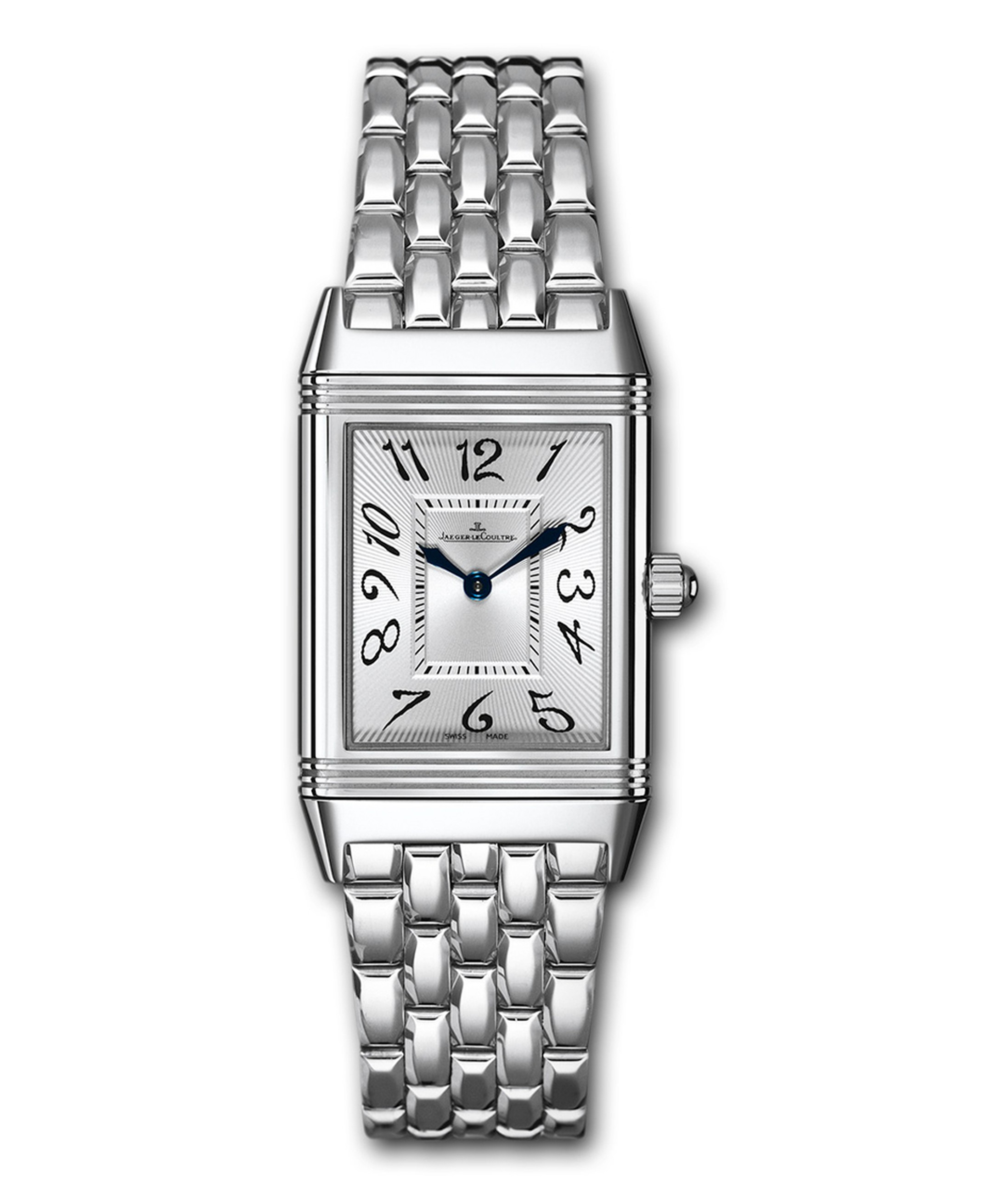 The Jaeger-LeCoultre Reverso Duetto Classique watch in stainless steel featuring a silvered guilloché and sunray-brushed dial and floral numerals.