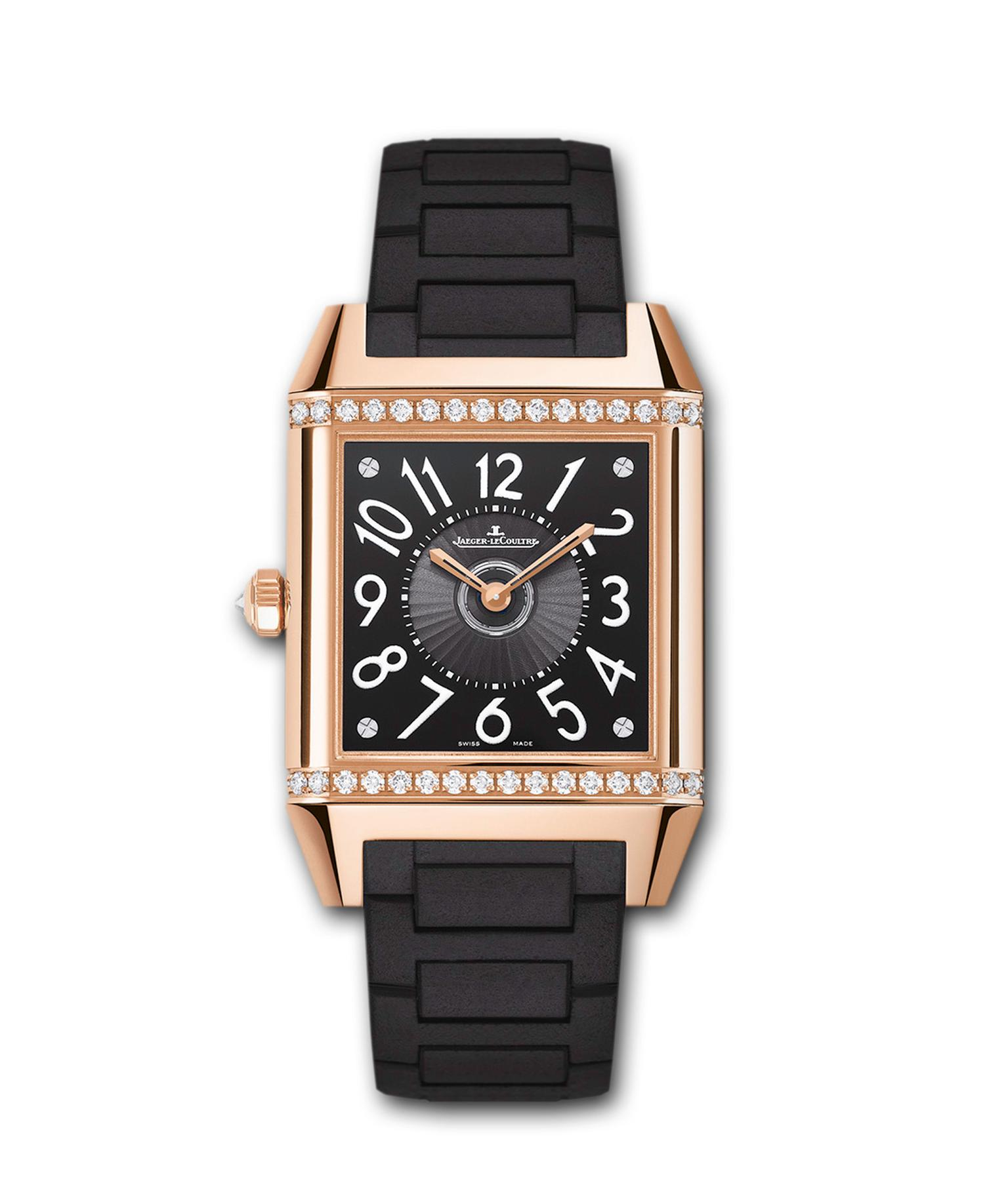 The Jaeger-LeCoultre Reverso Squadra Lady Duetto watch features a back dial in black with a visible oscillating rotor and Arabic numerals.