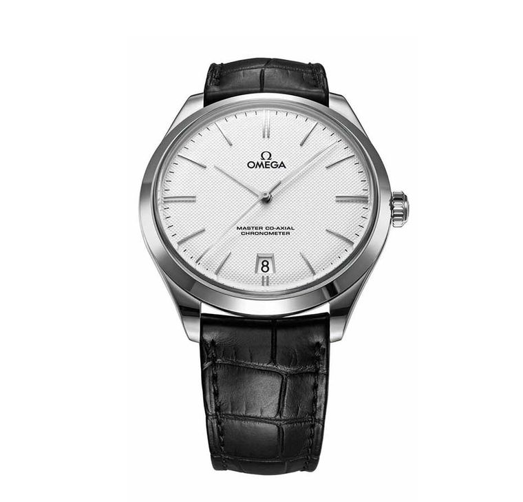 Omega De Ville Tre´sor men's dress watch in white gold inspired by the original De Ville watches of 1949. This was the model worn by George Clooney on his wedding day.