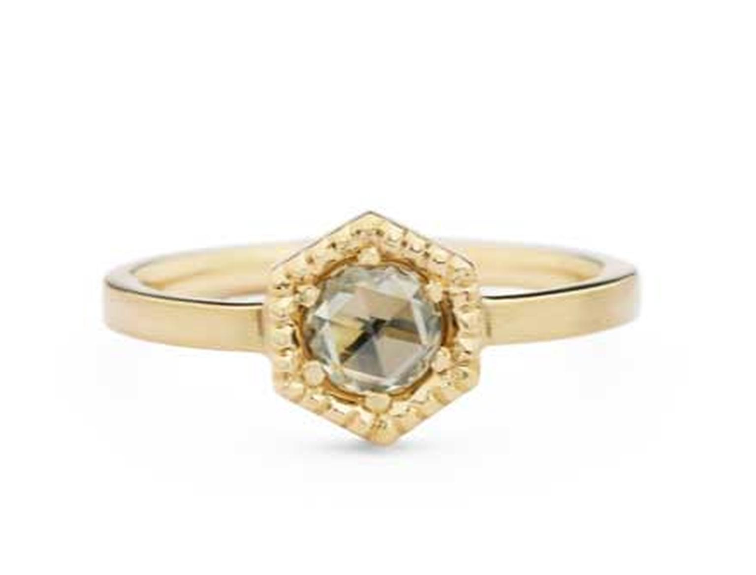 Jessica Poole Hexagon diamond engagement ring in brushed gold with milgrain edging, set with a cognac rose-cut diamond.